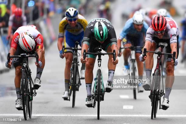 Sprint / Arrival / Caleb Ewan of Australia and Team Lotto Soudal / Pascal Ackermann of Germany and Team Bora-Hansgrohe / Jasper Stuyven of Belgium...