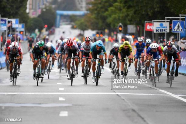 Sprint / Arrival / Caleb Ewan of Australia and Team Lotto Soudal / Pascal Ackermann of Germany and Team Bora-Hansgrohe / Jasper Philipsen of Belgium...