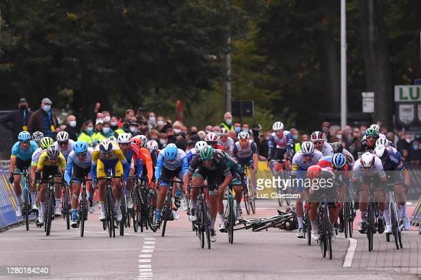 Sprint / Arrival / Caleb Ewan of Australia and Team Lotto Soudal / Pascal Ackermann of Germany and Team Bora - Hansgrohe / Niccolo Bonifazio of Italy...