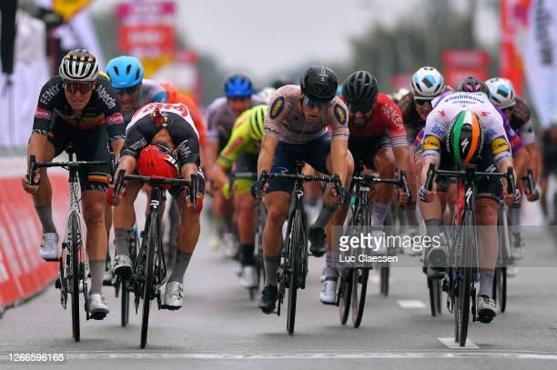 Sprint / Arrival / Caleb Ewan of Australia and Team Lotto Soudal / Sam Bennett of Ireland and Team Deceuninck - Quick-Step / Tim Merlier of Belgium...