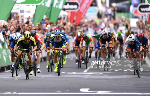 Sprint / Arrival / Caleb Ewan of Australia and Team MitcheltonScott / Fernando Gaviria of Colombia and Team QuickStep Floors / Andre Greipel of...