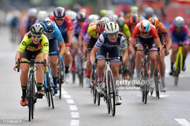 Sprint / Arrival / Chloe Hosking of Australia and Team Ale Cipollini / Letizia Paternoster of Italy and Trek- Segafredo / Roxane Fournier of France...