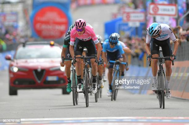Sprint / Arrival / Christopher Froome of Great Britain and Team Sky Pink Leader Jersey / Wout Poels of The Netherlands and Team Sky / during the...