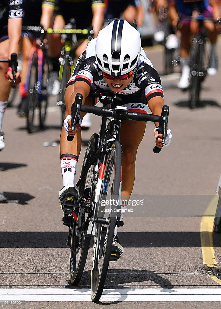 Sprint / Arrival / Coryn Rivera of The United States and Team Sunweb / Marianne Vos of The Netherlands and Waowdeals Pro Cycling Team / Christine Majerus of Luxembourg and Boels - Dolmans Cycling Team Black Mountains Jersey / Public / Fans / during the 5th OVO Energy Women's Tour 2018 / Stage 2 a 143,9km stage from Rushden to Daventry on June 14, 2018 in Daventry, England.