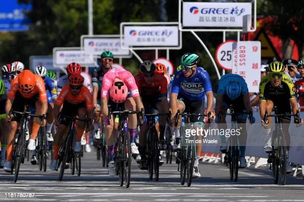 Sprint / Arrival / Daniel Mclay of United Kingdom and Team EF Education First / Celebration / Pascal Ackermann of Germany and Team Bora-Hansgrohe...