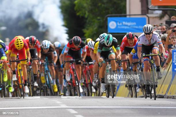 Sprint / Arrival / Daryl Impey of South Africa and Team Mitchelton-Scott / Julian Alaphilippe of France and Team Quick-Step Floors / Pascal Ackermann...