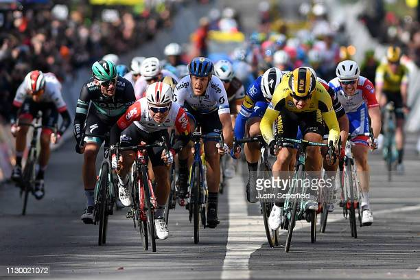Sprint / Arrival / Dylan Groenewegen of Netherlands and Team Jumbo Visma / Caleb Ewan of Australia and Team Lotto Soudal / Fabio Jakobsen of...