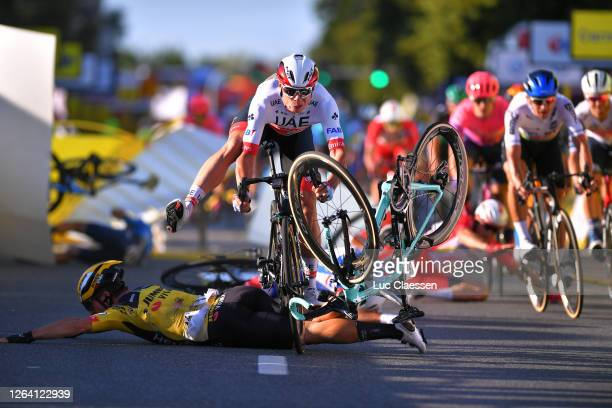 Sprint / Arrival / Dylan Groenewegen of The Netherlands and Team Jumbo - Visma / Jasper Philipsen of Belgium and UAE Team Emirates / Crash / during...