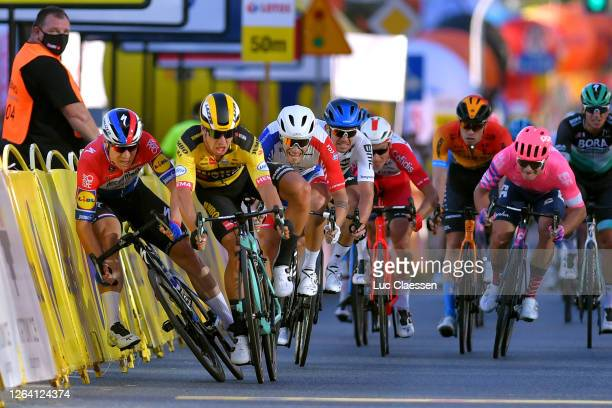 Sprint / Arrival / Dylan Groenewegen of The Netherlands and Team Jumbo - Visma / Fabio Jakobsen of The Netherlands and Team Deceuninck - Quick-Step /...