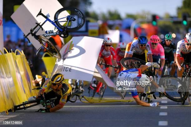 Sprint / Arrival / Dylan Groenewegen of The Netherlands and Team Jumbo - Visma / Fabio Jakobsen of The Netherlands and Team Deceuninck - Quick-Step /...