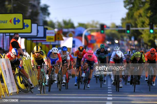 Sprint / Arrival / Dylan Groenewegen of The Netherlands and Team Jumbo - Visma Sanctioned / Disqualified / Fabio Jakobsen of The Netherlands and Team...