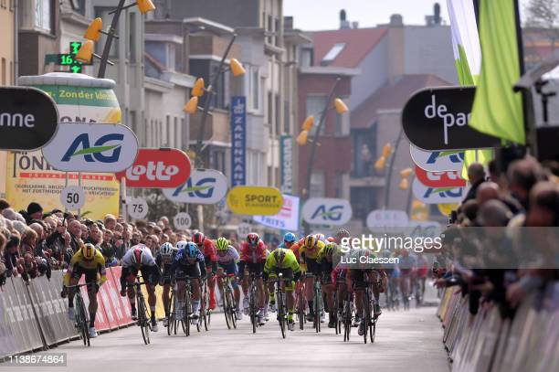 Sprint / Arrival / Dylan Groenewegen of The Netherlands and Team Jumbo-Visma / Fernando Gaviria of Colombia and UAE Team Emirates / Elia Viviani of...