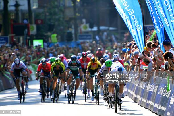 Sprint / Arrival / Elia Viviani of Italy and Team Deceuninck - Quick Step / Caleb Ewan of Australia and Team Lotto Soudal / Giacomo Nizzolo of Italy...