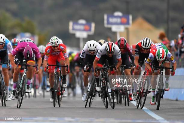 Sprint / Arrival / Elia Viviani of Italy and Team Deceuninck QuickStep / Fernando Gaviria Rendon of Colombia and UAE Team Emirates / Arnaud Demare of...
