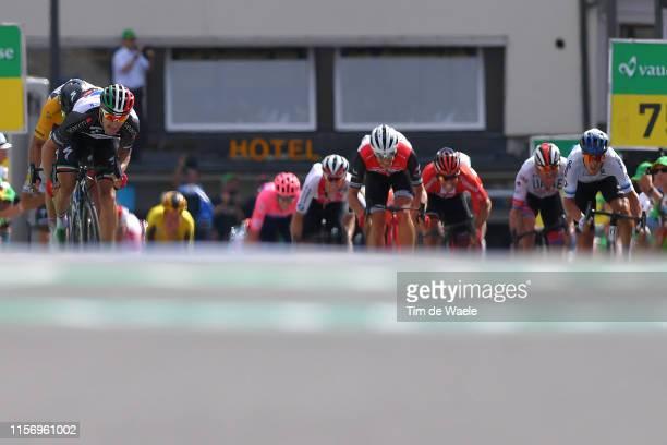 Sprint / Arrival / Elia Viviani of Italy and Team Deceuninck QuickStep Black Pooints Jersey / Peter Sagan of Slovakia and Team BoraHansgrohe Yellow...