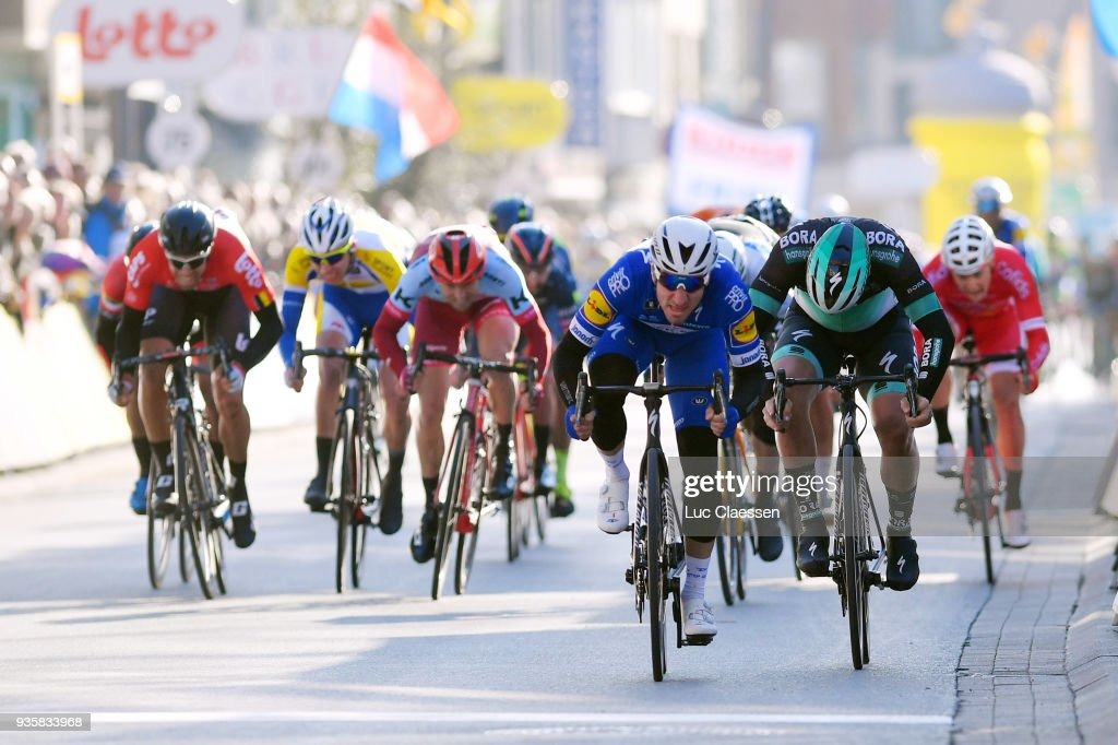 Sprint / Arrival / Elia Viviani of Italy and Team Quick-Step Floors of Belgium / Pascal Ackermann of Germany and Team Bora-Hansgrohe / Jasper Philipsen of Belgium Team Hagens Berman Axeon / during the 42nd 3 Days De Panne 2018 a 202,4km race from Brugge to De Panne on March 21, 2018 in De Panne, Belgium.
