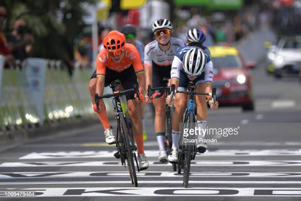Sprint / Arrival / Elisabeth Deignan-Armitstead of The United Kingdom and Team Trek- Segafredo / Marianne Vos of The Netherlands and Team CCC - Liv /...