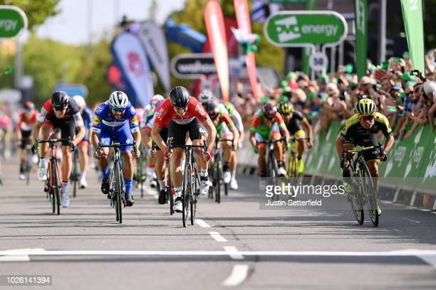 Sprint / Arrival / Fernando Gaviria of Colombia and Team QuickStep Floors / Andre Greipel of Germany and Team Lotto Soudal / Caleb Ewan of Australia...