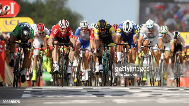 Sprint / Arrival / Fernando Gaviria of Colombia and Team Quick-Step Floors / Celebration / Peter Sagan of Slovakia and Team Bora Hansgrohe Green...