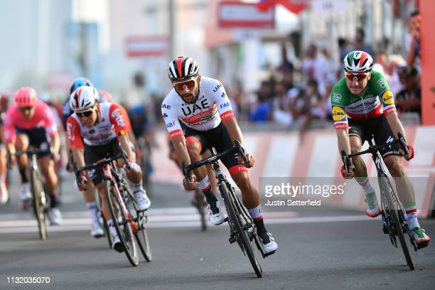 Sprint / Arrival / Fernando Gaviria of Colombia and UAE Team Emirates / Celebration / Elia Viviani of Italy and Team Deceuninck-QuickStep / Caleb...