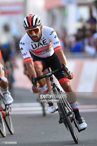 Sprint / Arrival / Fernando Gaviria of Colombia and UAE Team Emirates / Celebration / during the 5th UAE Tour 2019 Stage 2 a 184km stage from Yas...