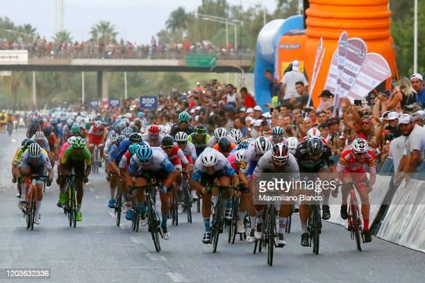 Sprint / Arrival / Fernando Gaviria of Colombia and UAE Team Emirates / Peter Sagan of Slovakia and Team Bora-Hansgrohe / José Álvaro Hodeg of...