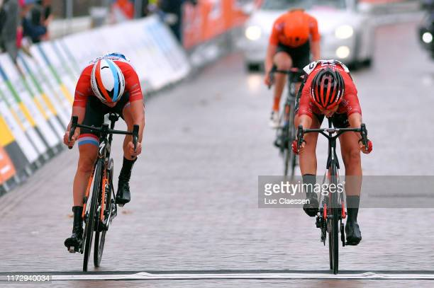 Sprint / Arrival / Franziska Koch of Germany and Team Sunweb / Christine Majerus of Luxembourg and Boels Dolmans Cycling Team / Riejanne Markus of...