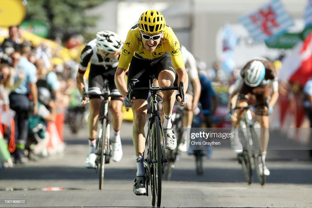 Sprint / Arrival / Geraint Thomas of Great Britain and Team Sky Yellow Leader Jersey /Tom Dumoulin of The Netherlands and Team Sunweb / Romain Bardet of France and Team AG2R La Mondiale / Christopher Froome of Great Britain and Team Sky / during the 105th Tour de France 2018, Stage 12 a 175,5km stage from Bourg-Saint-Maurice Les Arcs to Alpe d'Huez 1850m / TDF / on July 19, 2018 in Alpe d'Huez, France.