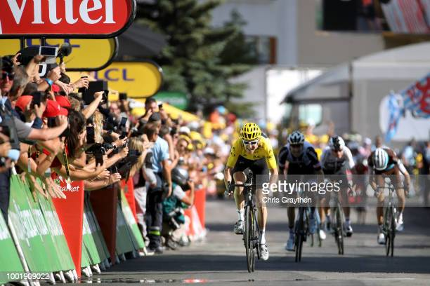 Sprint / Arrival / Geraint Thomas of Great Britain and Team Sky Yellow Leader Jersey /Tom Dumoulin of The Netherlands and Team Sunweb / Romain Bardet...