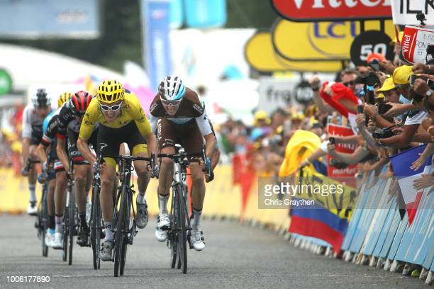 Sprint / Arrival / Geraint Thomas of Great Britain and Team Sky Yellow Leader Jersey / Romain Bardet of France and Team AG2R La Mondiale / Daniel...