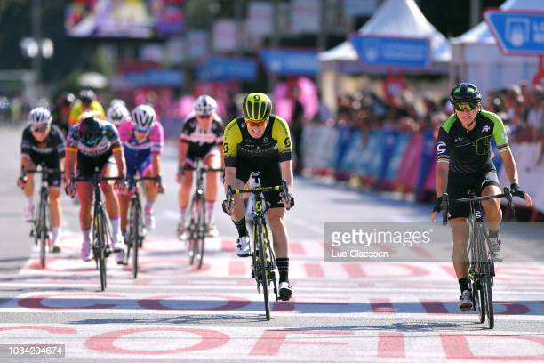 Sprint / Arrival / Giorgia Bronzini of Italy and Team Cylance Pro Cycling / Sarah Roy of Australia and Team Mitchelton-Scott / Charlotte Becker of...