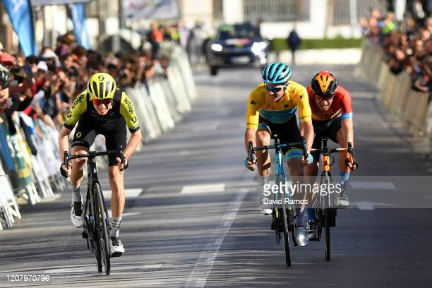 Sprint / Arrival / Jack Haig of Australia and Team Mitchelton-Scott / Jakob Fuglsang of Denmark and Astana Pro Team Yellow Leader Jersey / Mikel...