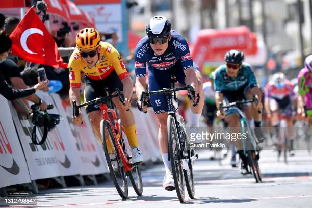 Sprint / Arrival / Jasper Philipsen of Belgium and Team Alpecin-Fenix & Kristoffer Halvorsen of Norway and UNO - X Pro Cycling Team during the 56th...