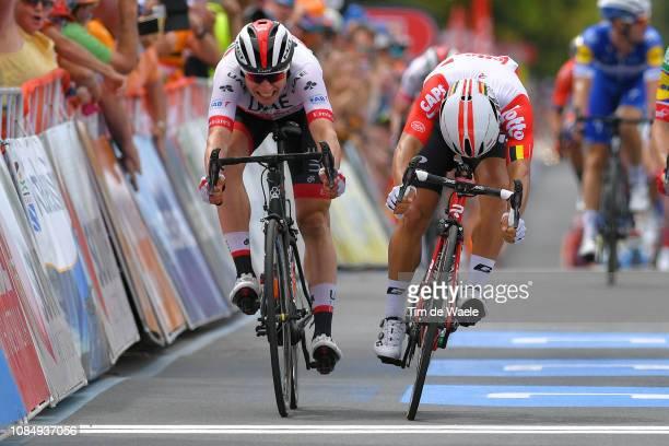 Sprint / Arrival / Jasper Philipsen of Belgium and UAE Team Emirates / Caleb Ewan of Australia and Team Lotto Soudal / during the 21st Santos Tour...
