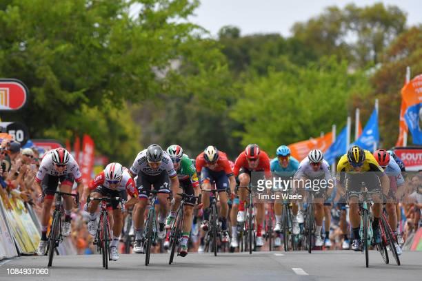 Sprint / Arrival / Jasper Philipsen of Belgium and UAE Team Emirates / Caleb Ewan of Australia and Team Lotto Soudal / Elia Viviani of Italy and...