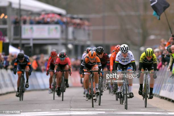 Sprint / Arrival / Jip Van Den Bos of The Netherlands and Boels Dolmans Cycling Team / Marta Bastianelli of Italy and Team Virtu Cycling / Annemiek...
