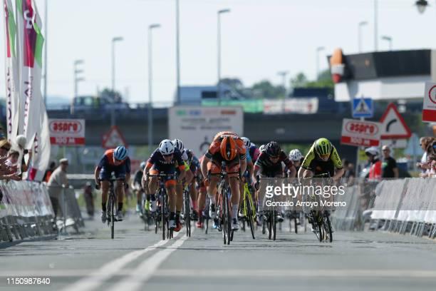Sprint / Arrival / Jolien Dhoore of Belgium and Boels Dolmans Cycling Team / Gracie Elvin of Australia and Team Mitchelton Scott / Elena Cecchini of...