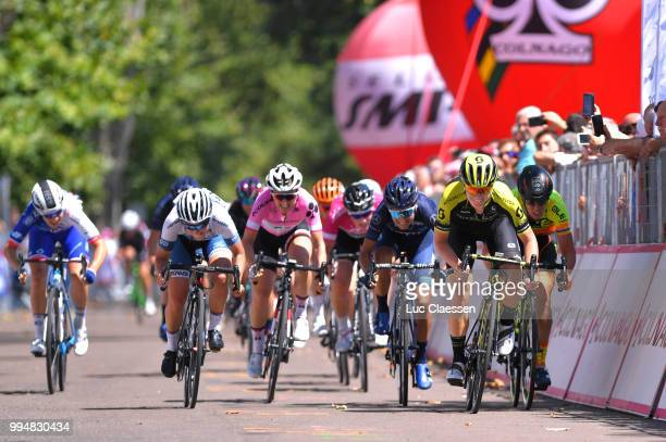 Sprint / Arrival / Jolien DHoore of Belgium and Team Mitchelton-Scott / Marta Bastianelli of Italy and Team Ale Cipollini / Lotta Lepisto of Finland...