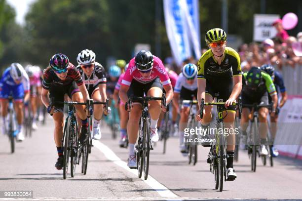 Sprint / Arrival / Jolien DHoore of Belgium and Team Mitchelton-Scott / Celebration / Kirsten Wild of The Netherlands and Team Wiggle High5 Points...