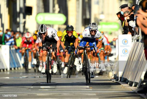 Sprint / Arrival / Julian Alaphilippe of France and Team Deceuninck - Quick-Step / Celebration / Marc Hirschi of Switzerland and Team Sunweb / Adam...