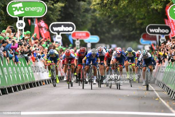 Sprint / Arrival / Julian Alaphilippe of France and Team QuickStep Floors / Patrick Bevin of New Zealand and BMC Racing Team / Emils Liepins of...