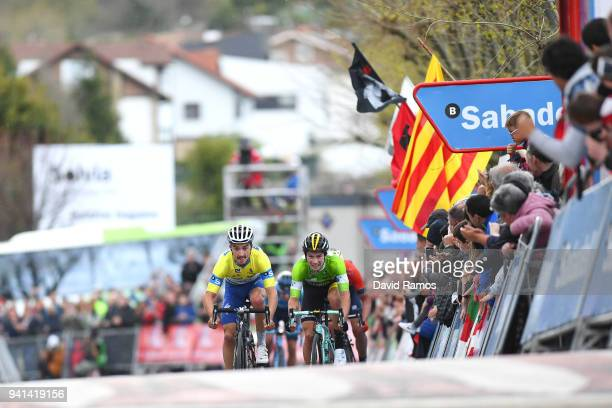 Sprint / Arrival / Julian Alaphilippe of France and Team QuickStep Floors Yellow Leader Jersey / Celebration / Primoz Roglic of Slovenia and Team...