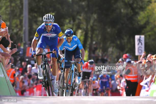 Sprint / Arrival / Julian Alaphilippe of France and Team QuickStep Floors / Alejandro Valverde Belmonte of Spain and Movistar Team / Jelle Vanendert...