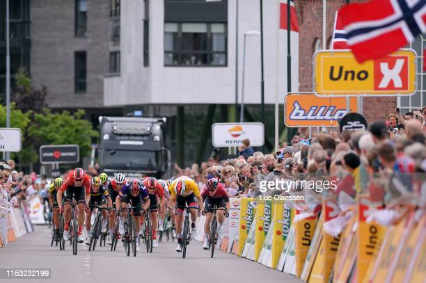 Sprint / Arrival / Kristoffer Halvorsen of Norway and Team INEOS Blue Sprint Jersey / Cees Bol of The Netherlands and Team Sunweb / Alexander...