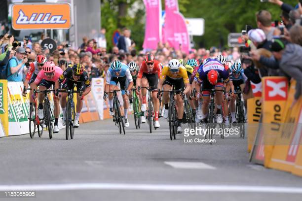Sprint / Arrival / Lawrence Naesen of Belgium and Team Lotto Soudal / Moreno Hofland of The Netherlands and Team EF Education First / Tom Van...