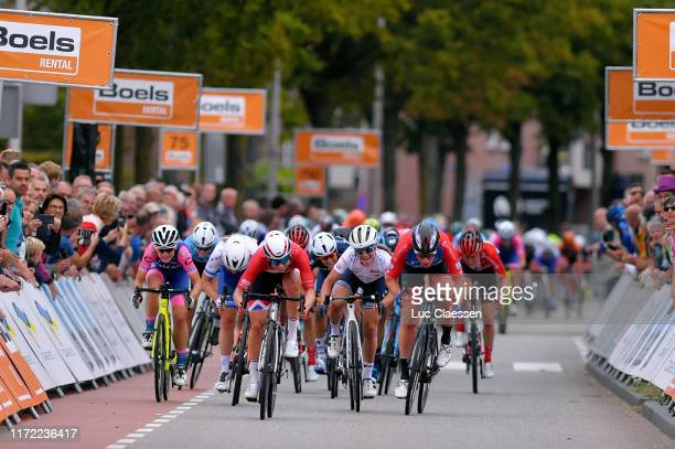 Sprint / Arrival / Lorena Wiebes of The Netherlands and Team Parkhotel Valkenburg / Letizia Paternoster of Italy and Team Trek- Segafredo We White...