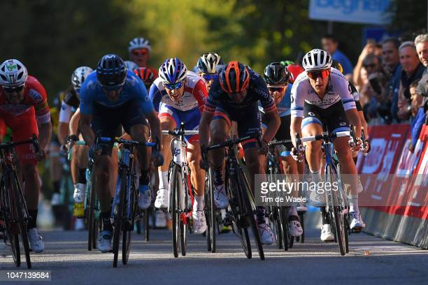 Sprint / Arrival / Manuel Belletti of Italy and Team Androni Giocattoli / Carlos Barbero of Spain and Movistar Team / Matthieu Ladagnous of France...