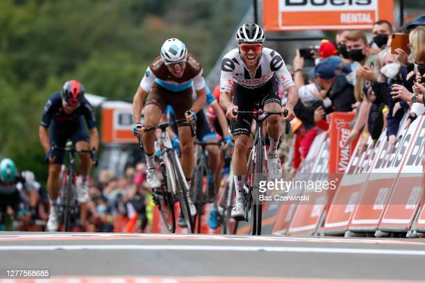 Sprint / Arrival / Marc Hirschi of Switzerland and Team Sunweb / enoit Cosnefroy of France and Team AG2R La Mondiale / during the 84th La Fleche...