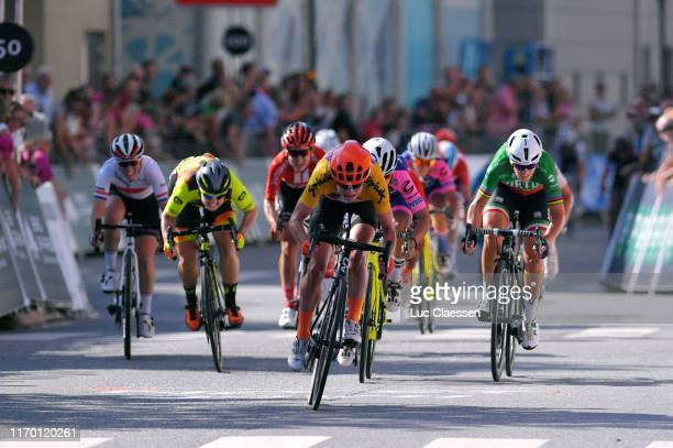 Sprint / Arrival / Marianne Vos of The Netherlands and Team CCC Liv Orange Leader Jersey / Marta Bastianelli of Italy and Team Virtu Cycling / Ilaria...