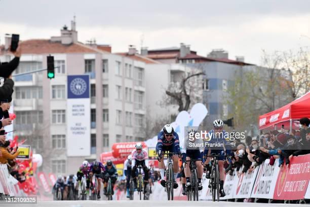 Sprint / Arrival / Mark Cavendish of United Kingdom and Team Deceuninck - Quick-Step, Jasper Philipsen of Belgium and Team Alpecin-Fenix & André...